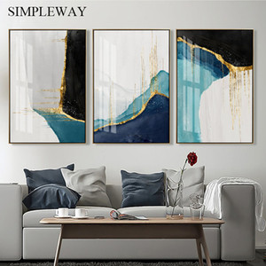 Golden Abstract Art Painting Simplicity Artwork Canvas Poster Nordic Print Wall Picture Modern Home Living Room Decoration