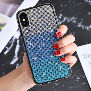 Luxury Glitter Diamond Gradient Case Soft Shockproof Rhinestone Cover for iPhone 11 12 Pro XR Xs Max X 8 7 Plus Samsung Huawei