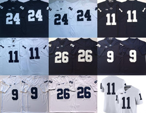 Penn State Nittany Lions 26 Saquon Barkley 11 Micah Parsons 24 miles Sanders 9 Trace Mcsorley bleu marine Bleu Blanc Blanc Couts Jersey
