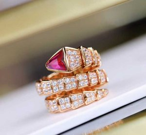 Luxuriöse Qualität S925 silberne Schlange Ring mit Diamanten in 18 Roségold plattiert fuchsia Farbe Diamantfrauen Charme Schmuck Geschenk PS6450