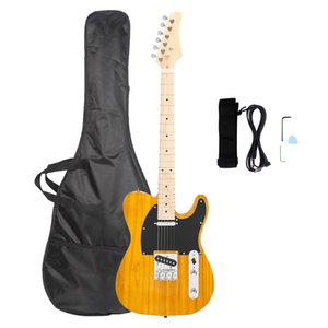 Interruptor Glarry GTL de tres vías de la guitarra diapasón de arce de la guitarra eléctrica bolsa Correa Púa herramienta de conexión de gancho de cables transparente amarillo