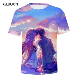 KELUOXIN Summer Sword Art Online 3D T-shirt Men Women Cotton Short Sleeve T Shirt Casual Cartoon Anime SAO Tee Tops Camisetas