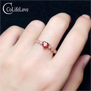 CoLife Gioielli 925 Anello Cuore d'argento per l'impegno 5 millimetri Natural Garnet anello d'argento solido Jewelry 925 Garnet
