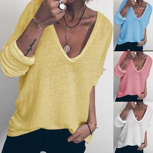 Tshirts İlkbahar Sonbahar Uzun Kollu Baskı Çok Renkli V Yaka Gevşek Tees Kadın Lüks Designer Tops