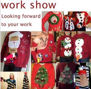 Cadeau imprimé rouge à manches longues Tops Designer cadeaux de Noël personnalisés Hommes T-shirts de Noël