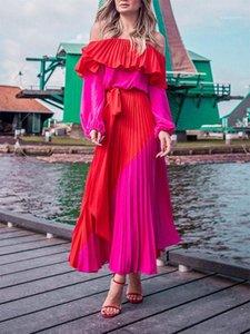 Slash Neck bretelles lambrissé Bow Robe irrégulière manches longues Femme Vêtements 2020 Femmes Designer Robe d'été