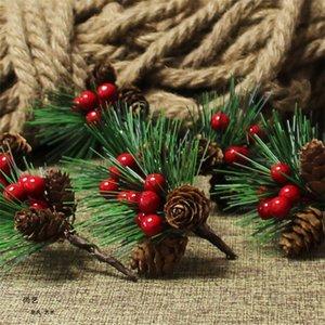 Искусственные пластиковые ягоды Pine Leaf Natural Pine Cone Болл Christmas Xmas Tree Wedding Gift Box Венки Craft украшение FWE1893