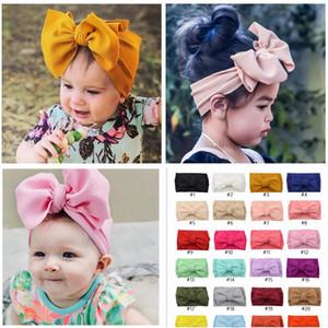 Baby-Stirnband Hot 34 Farben Knot Stretch Turban Kleinkind-Baby-Big-Bogen-Knoten Hairbands Fest Kopfbedeckung Headwrap Haarbänder Zubehör