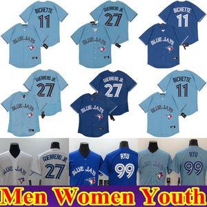 Blue Jays Bo Bichette Toronto 2020 bambini Jersey Cavan Biggio Vladimir Guerrero Jr. Hyun-Jin Ryu Uomini Donne giovani baseball Jersey