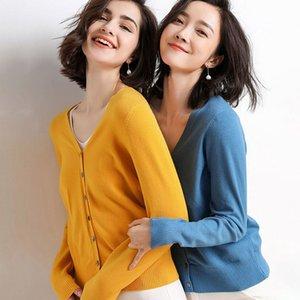 Lossky Women Knitted Sweater Cardigan Korean Style V Neck Autumn Long Sleeve Coat Female Red Black Wild Ladies Clothing Minimali T200820