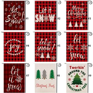 Christmas Garden Flag Decoration Double Side Checkered Red Plaid Letter Designers Festival Courtyard Hanging Banner Flags 47*32cm D92507