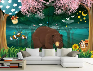 Discount For Cheap Wallpaper 3d Fantasy Forest Cartoon Bear Child Room Mural HD Silk Wall paper
