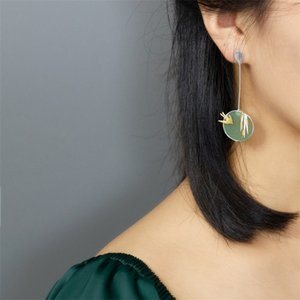 INATURE 925 Sterling Silver Aventurine Flying Swallow Drop Earrings For Women Fashion Animal Jewelry Gift 200923