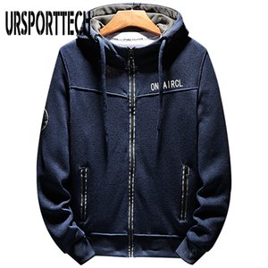 URSPORTTECH Hommes Hoodies Lettre Casual Zipper capuche Prined capuche Homme Streetwear Hiphop Sweat Sudaderas Hombre