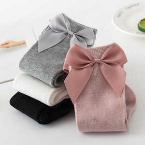 Ins Baby Girls Knee High Socks Kids Toddler Sock Big Bow Cotton Mid Sock For Little Girl Tube Socks
