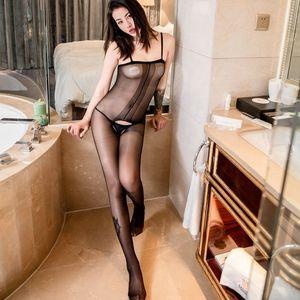 W7Ppd Beiya Xuan biancheria intima calze siamesi Silk Sling calze biancheria intima biforcazione aperta transparentfree siamese sexy sexy dall'imbracatura Youguang