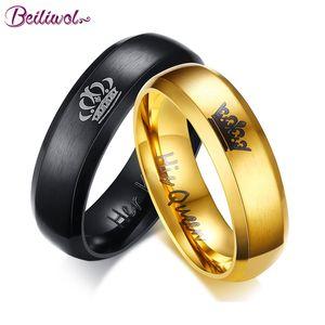 Belas coroa anéis de casamento para as mulheres Sua Rainha seu rei Homens casal jóias Preto Gota presente envio Gold-Cor Titanium Steel