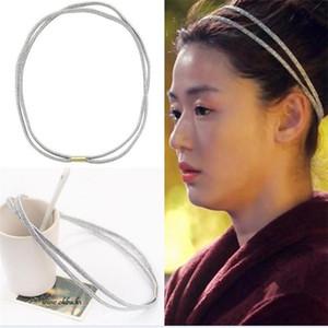 الاكسسوارات الكورية من النجوم بك مزدوجة المطاط المجوهرات الشعر الفرقة الشعر المجوهرات خط مزدوج خط الشريط المطاطي تشيان Songyi عقال