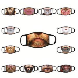 Máscaras divertido Barba impresión mascarillas boca Máscara adulto protector solar al aire libre del partido de algodón Negro unisex a prueba de polvo lavable envío YYA445 mar
