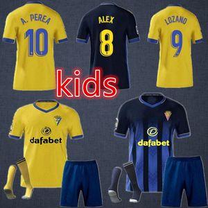 2020 Cádis Jerseys de futebol Cádiz CF 20 21 Santander Camisas de futebol Alex Bodiger Juan Cala Lozano Camiseta Ascenso Kids Kit