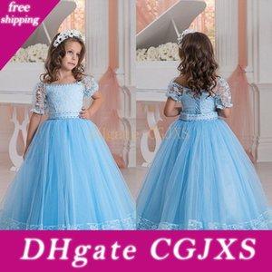 Light Blue Flower Girls Dresses Off Shoulder Short Sleeves Lace Appliques A Line Kids Party Dress Formal Wear Lace Up Girls Pageant Dress