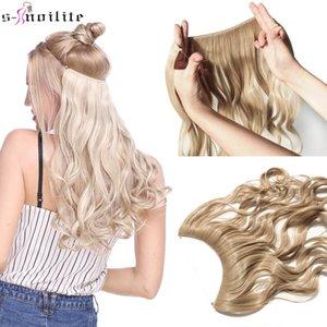 SNOILITE 20 дюймов Длинные Синтетические волосы жаропрочных Шиньон Fish Line Волнистые Extensions волос Секретные Невидимый Hairpieces