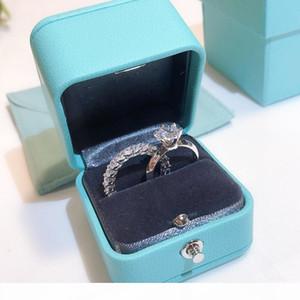 100% reale 925 marca argento Promise Ring Set 5A zircone Sona Cz anelli di fidanzamento Wedding Band per gioielli dito donne