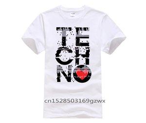 Los hombres de impresión de manga corta camiseta I Love Techno tendencia de los hombres personalizados de la música adolescente cuello redondo original Detroit Techno camiseta
