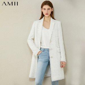 AMII Minimalism Herbst-Winter-Mode Tweed-Jacke Temperament Plaid Revers Einreiher lange Blazer Frauen-Mantel 12070378