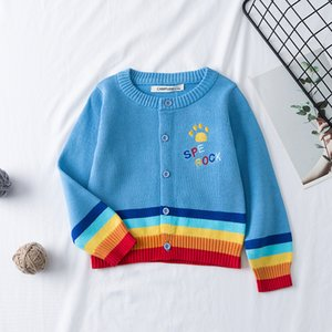 Kid New Spring Autumn Cute Baby Boys Girls Plaid Cardigan Cotton Children Sweaters Jacquard Fashion 1-7Y Kids Knitted Clothes