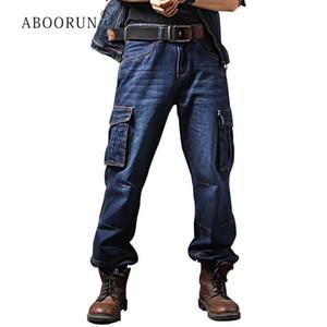 ABOORUN Artı boyutu 40 Erkek Casual Kargo Denim Pantolon Çoklu Erkek R1258 için Kargo Kot Gevşek Kaykay Jeans Cepler