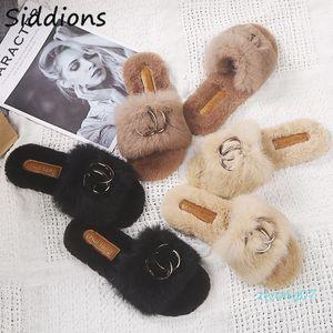 2020 Schuhe Damen Designer-Winter-Schuhe Frau Feder Wohnungen Pelzschuhe Peep Toe Mules Dame Pumps Slides Big Size Z07
