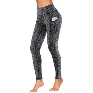 # H40 Mulheres Workout Leggings Com o Pocket Leggings Esporte Mulheres da aptidão que funciona cintura alta Musculação Calças Leggins