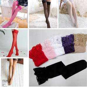 Muslo Alto Mujeres Encaje Sheer Stockings Panti antideslizante de silicona Medias de encaje de la ropa interior de 6 colores KKA8017
