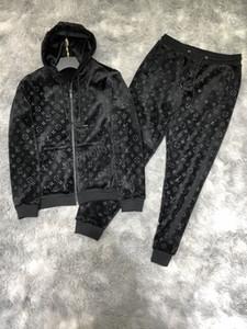 LV clothing Куртка случайные брюки топ бренд класса люкс балахон + спортивные брюки спортивная одежда мужской костюм 2PCS спортивной Deportivo спорта балахон бегуна вскользь WEA