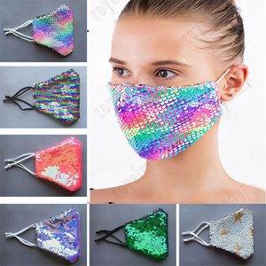 Бесплатная доставка DHL моды Bling Bling Sequin Защитная маска пыле моющийся ветрозащитный Многократное маска Упругие ушной Mouth маска
