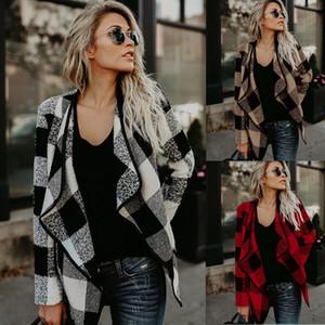 Fashion Women streetwear Plaid Printed Coat Tops Autumn Winter Vintage Casual Lapel Cardigan Ladies Warm Woolen Coat Plus Size