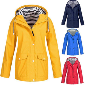 Women Solid Color Stripe Outdoor Windproof Waterproof Hooded Raincoat Rain Jacket Suitable for climbing hiking camping daily wea