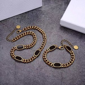 Fashion letter 14k gold cuban link chain necklace bracelet for mens and women Party lovers gift hip hop jewelry With BOX
