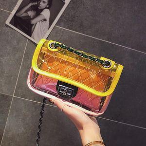 Designer-Verão New Transparente Cadeia PVC Moda Mulheres Messenger Bag Praia Jelly Feminino Designer Shoulder pequeno bonito Flap Crossbody Bag