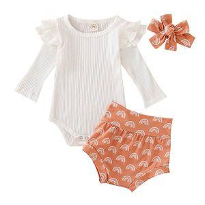 Nouveau-né Bébé Romper Sets Couleurs solides onesies manches longues Tops Rainbow Kids Short avec Bow bandeau enfant en bas âge Vêtements de bébé 060811