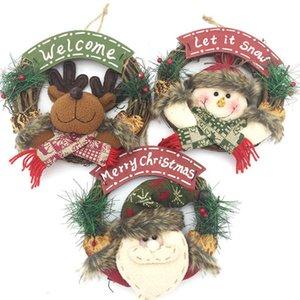 Hot Selling Christmas Wreath Snowman Elk Santa Garland Christmas Tree Pendant Wall Window Decor