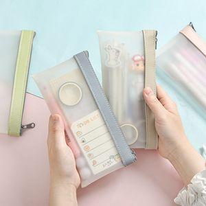 Simple Transparent TPU Leather Korean Fashion INS Pencil Bag Pouches Stationery Organizer Pencil Case Pencilcase School Pen Case