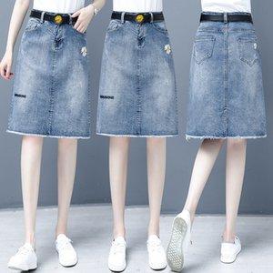 2020 Verão A- SAIA A- cintura nova moda das mulheres emagrecimento barriga High Line estilo coreano aparar perna saia jeans A- linha de vestido cinto VNmWc