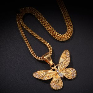 Water Drill Butterfly Pendant Hip-hop Stainless Steel Color-holding Plating High-grade Jewelry