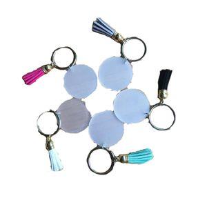 3cm 스웨이드 술 비닐 열쇠 고리 가능한 모노그램 투명 아크릴 디스크 술 체인 DHC1833 크리 에이 티브 열쇠 고리 4cm의 빈 디스크