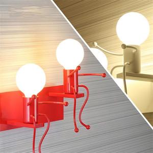 Wall Art Nordic American Iron Lamp Branco / preto / Quarto vermelho Luzes de parede de cabeceira Aisle Decor Robot Iluminação Luminaria