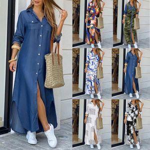 Tamaño más de moda del botón de camisa de vestir casual de las señoras del vestido largo de la calle principal de gran tamaño sueltos Maxi Mujeres