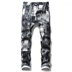 Kalem Pantolon Delik Stretch Demin Jeans Mens 2020 Lüks Designer Düz Jeans Moda Fit İnce Baskı