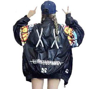 Yeni Hollow Out Back Nakış Bombacı Ceket Güneş Koruma gevşetin Ceket Öğrenci Harajuku Oversize Kadın Temel Coats LJ200813